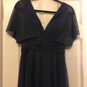 Allure Navy Blue Draped Sleeve Chiffon Dress